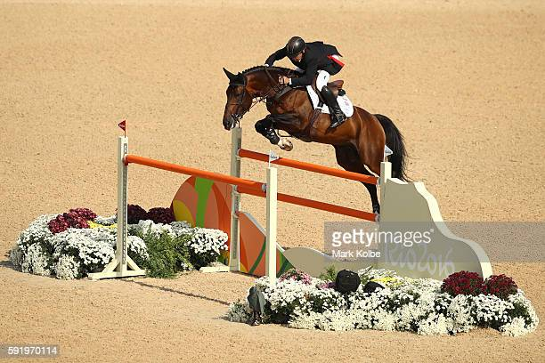 Gold medalist, Nick Skelton of Great Britain riding Big Star competes during the Equestrian Jumping Individual Final Round on Day 14 of the Rio 2016...