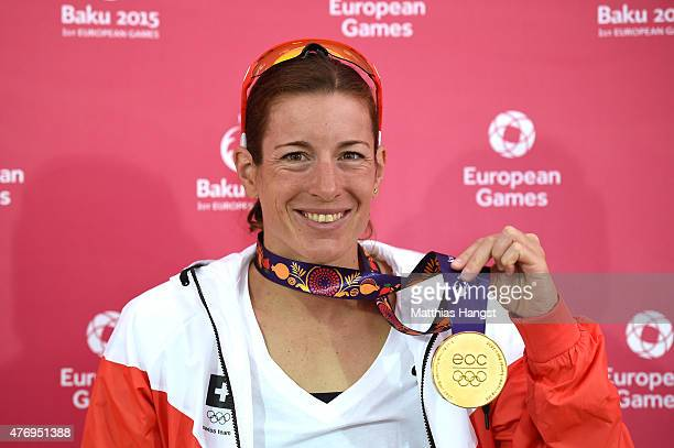 Gold medalist Nicola Spirig of Switzerland poses with her medal following the Women's Triathlon Final during day one of the Baku 2015 European Games...