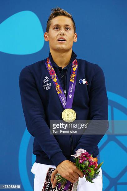 Gold medalist Nicolas D'Oriano of France stands on the podium during the medal ceremony for the Men's 1500m Freestyle fastest heat final during day...