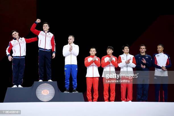 Gold medalist Nikita Nagornyy of Russia is presented at the podium during the medal ceremony for Men's AllAround Final on Day 8 of 49th FIG Artistic...