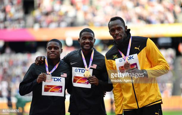 Gold medalist of 100 meters Justin Gatlin of the USA, silver medalist Christian Coleman of the USA and bronze medalist Usain Bolt of Jamaica pose...