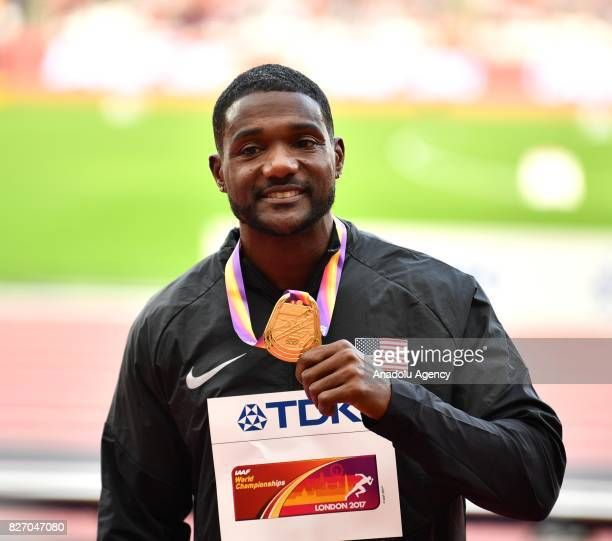 "Gold medalist of 100 meters Justin Gatlin poses with his medal on the podium during the ""IAAF Athletics World Championships London 2017"" at London..."