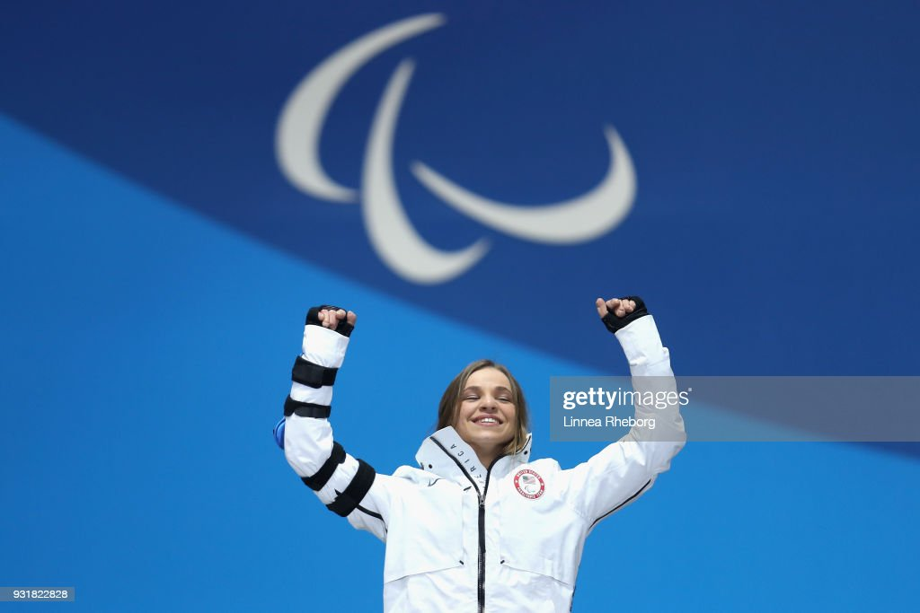 Gold medalist Oksana Masters of USA celebrates during the medal ceremony for Women's 1.1km Sprint, Sitting during day five of the PyeongChang 2018 Paralympic Games on March 14, 2018 in Pyeongchang-gun, South Korea.