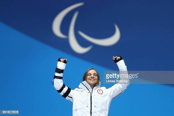 Gold medalist Oksana Masters of USA celebrates during the medal ceremony for Women's 11km Sprint Sitting during day five of the PyeongChang 2018...