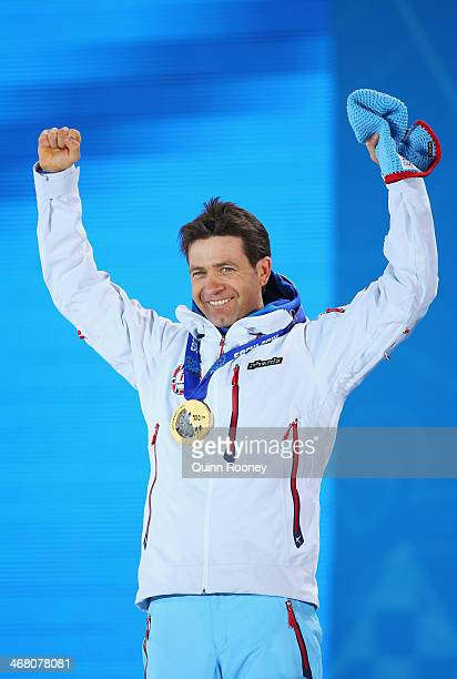 Gold medalist Ole Einar Bjoerndalen of Norway celebrate during the medal ceremony for the Men's Sprint 10 km during day 2 of the Sochi 2014 Winter...