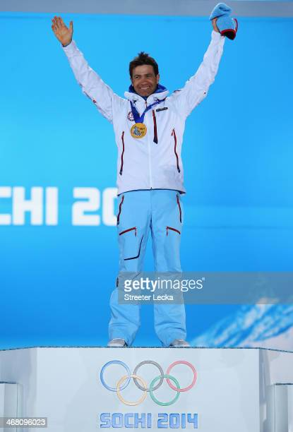 Gold medalist Ole Einar Bjoerndalen of Norway celebrates during the medal ceremony for the Men's Sprint 10 km on day 2 of the Sochi 2014 Winter...