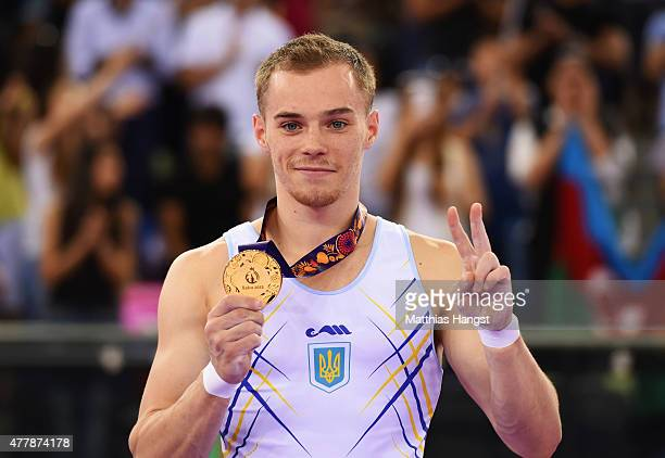 Gold medalist Oleg Verniaiev of Ukraine poses on the podium during the medal ceremony for the the Men's Vault final on day eight of the Baku 2015...