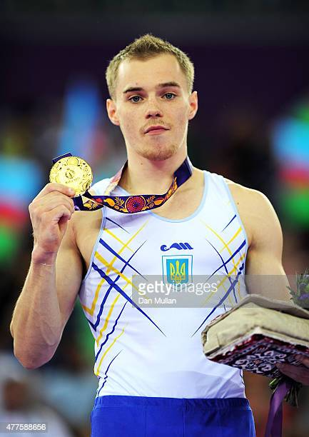 Gold medalist Oleg Verniaiev of Ukraine poses with the medal won in the Artistic Gymnastics Men's Individual All Round Final during day six of the...