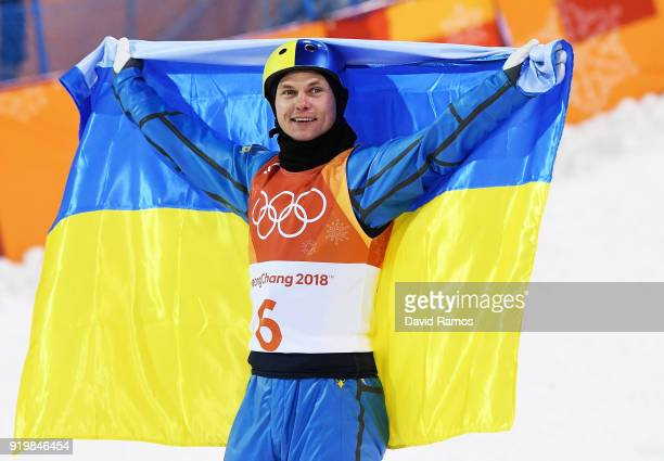 Gold medalist Oleksandr Abramenko of the Ukraine celebrates during the Freestyle Skiing Men's Aerials Final on day nine of the PyeongChang 2018...