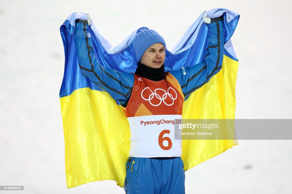 Gold medalist Oleksandr Abramenko of the Ukraine poses during the victory ceremony for the Freestyle Skiing Men's Aerials Final on day nine of the PyeongChang 2018 Winter Olympic Games at Phoenix Snow Park on February 18, 2018 in Pyeongchang-gun, South Korea.