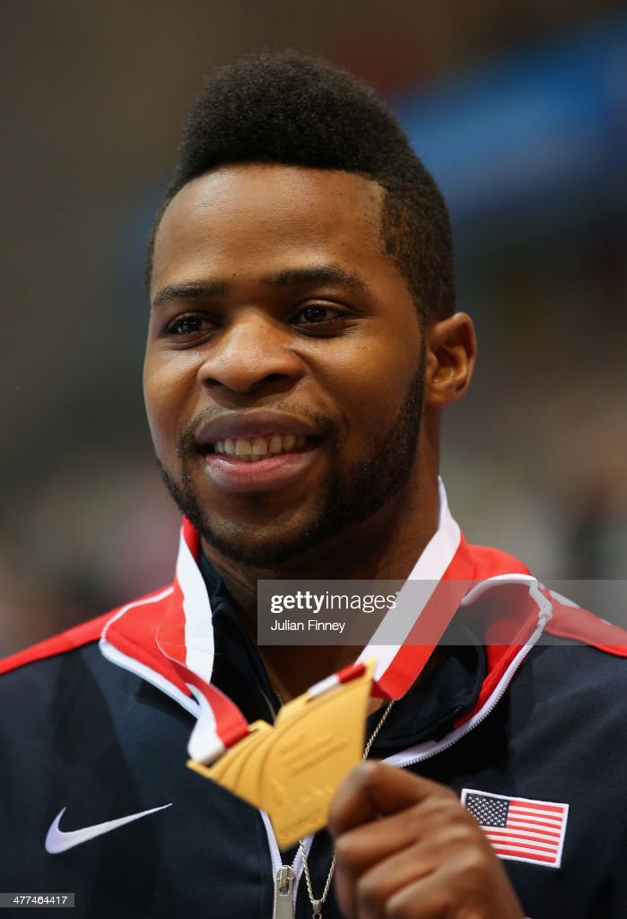 Gold medalist Omo Osaghae of the United States celebrates during the medal ceremony for the Men's 60m Hurdles Final during day three of the IAAF World Indoor Championships at Ergo Arena on March 9, 2014 in Sopot, Poland.