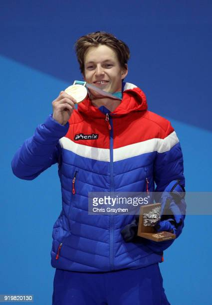 Gold medalist Oystein Braaten of Norway celebrates during the medal ceremony for the Freestyle Skiing Men's Ski Slopestyle on day nine of the...