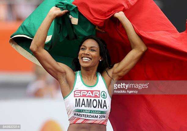 Gold Medalist Patricia Mamona of Portugal poses after the Women's Triple Jump Final on the last day of the European Athletics Championships in...