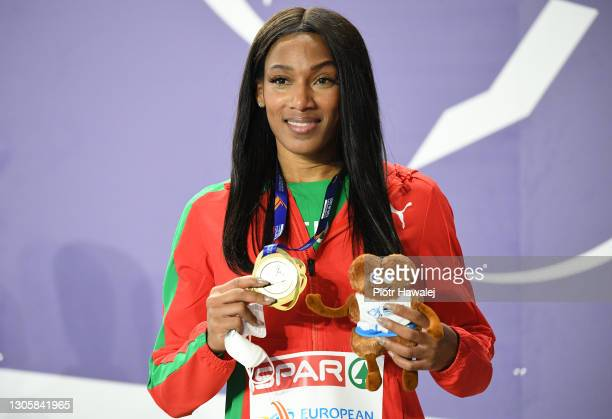 Gold medalist Patricia Mamona of Portugal poses for a photo during the medal ceremony for Women's Triple Jump during the second session on Day 3 of...