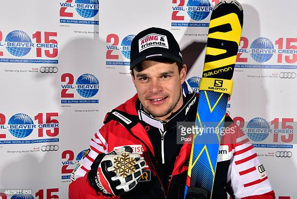 Gold medalist Patrick Kueng of Switzerland poses following the finish of the Men's Downhill in Red Tail Stadium on Day 6 of the 2015 FIS Alpine World...
