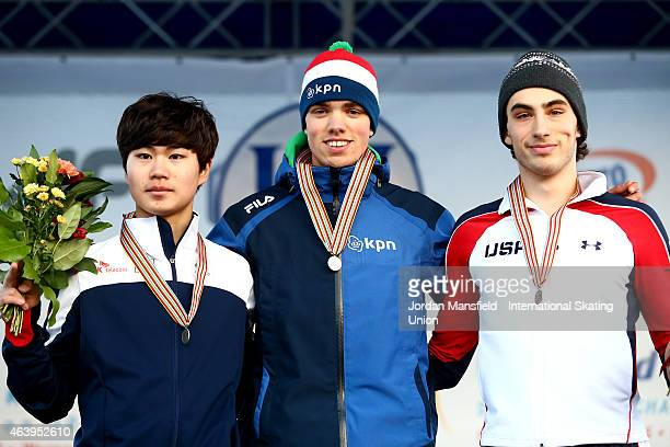 Gold medalist Patrick Roest of the Netherlands Silver medalist MinSeok Kim of Korea and Bronze medalist Emery Lehman of the USA pose for a picture...
