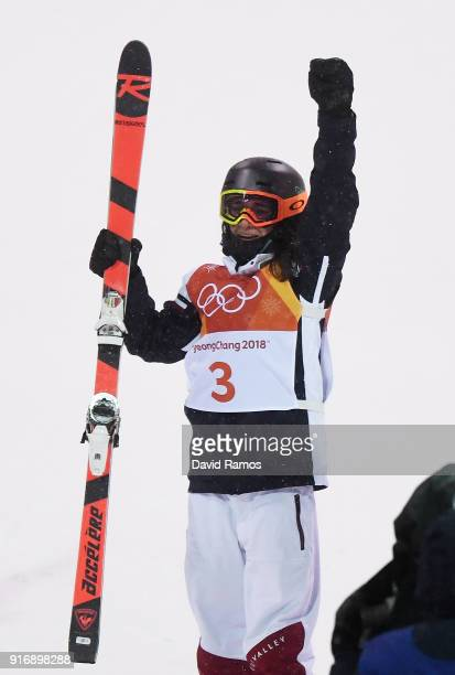 Gold medalist Perrine Laffont of France celebrates during the Freestyle Skiing Ladies' Moguls Final on day two of the PyeongChang 2018 Winter Olympic...
