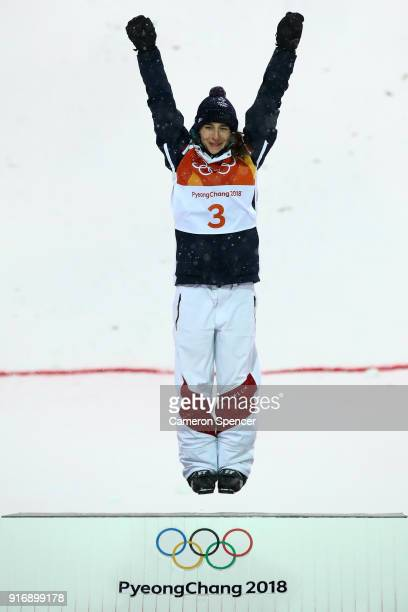 Gold medalist Perrine Laffont of France celebrates during the victory ceremony for the Freestyle Skiing Ladies' Moguls Final on day two of the...