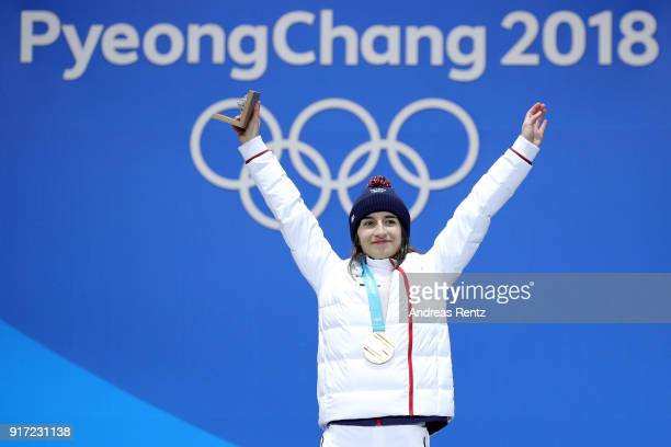 Gold medalist Perrine Laffont of France poses during the medal ceremony for Freestyle Skiing Ladies' Moguls at Medal Plaza on February 12 2018 in...