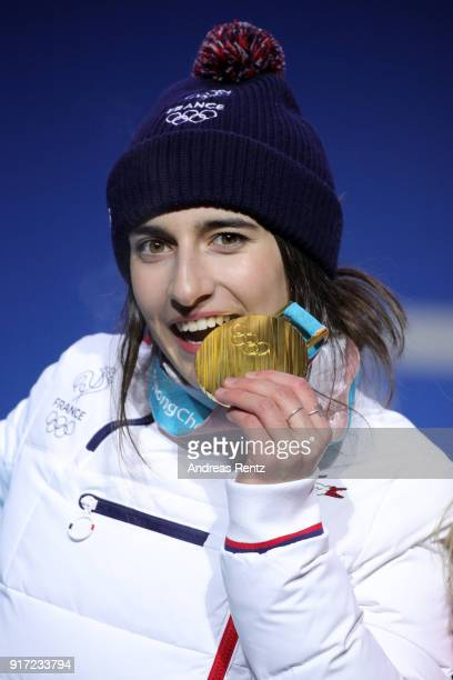 Gold medalist Perrine Laffont of France poses during the medal ceremony for Freestyle Skiing Ladies' Moguls at Medal Plaza on February 12, 2018 in...