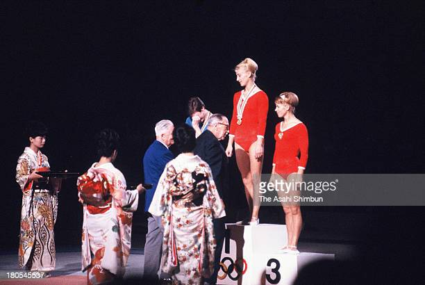 Gold Medalist Polina Astakhova of Soviet Union Silver Medalist Katalin MakraySchmitt of Hungary and Bronze Medalist Larysa Latynina of Soviet Union...