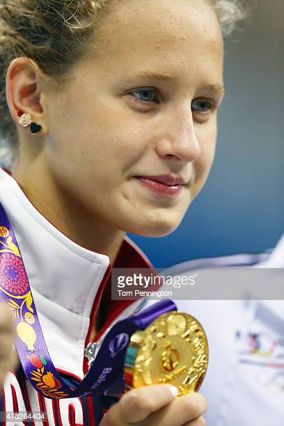 Gold medalist Polina Egorova of Russia poses during the medal ceremony for the Women's 200m Backstroke final during day twelve of the Baku 2015...
