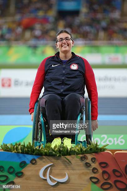 Gold medalist Rachael Morrison of the United States poses on the podium at the medal ceremony for Women's Discus Throw - F52 on day 7 of the Rio 2016...