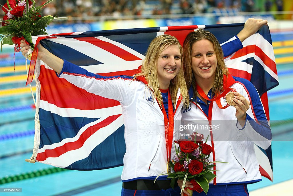 Gold medalist Rebecca Adlington of Great Britain and bronze medalist Joanne Jackson of Great Britain pose with their medals during the medal ceremony for the Women's 400m Freestyle held at the National Aquatics Center on Day 3 of the Beijing 2008 Olympic Games on August 11, 2008 in Beijing, China.