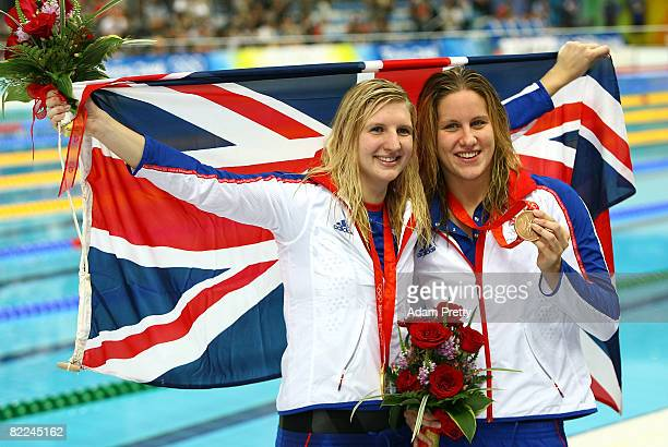 Gold medalist Rebecca Adlington of Great Britain and bronze medalist Joanne Jackson of Great Britain pose with their medals during the medal ceremony...
