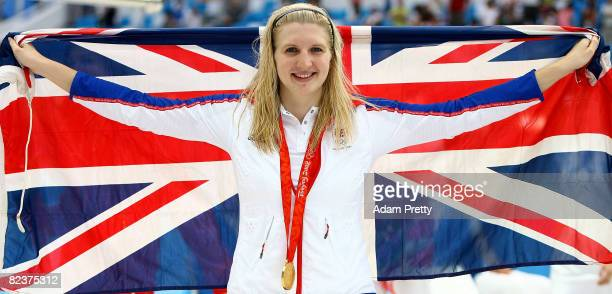 Gold medalist Rebecca Adlington of Great Britain poses during the medal ceremony for the Women's 800m Freestyle Final held at the National Aquatics...