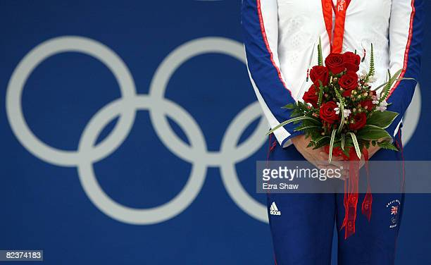 Gold medalist Rebecca Adlington of Great Britain stands on the podium during the medal ceremony for the Women's 800m Freestyle Final held at the...