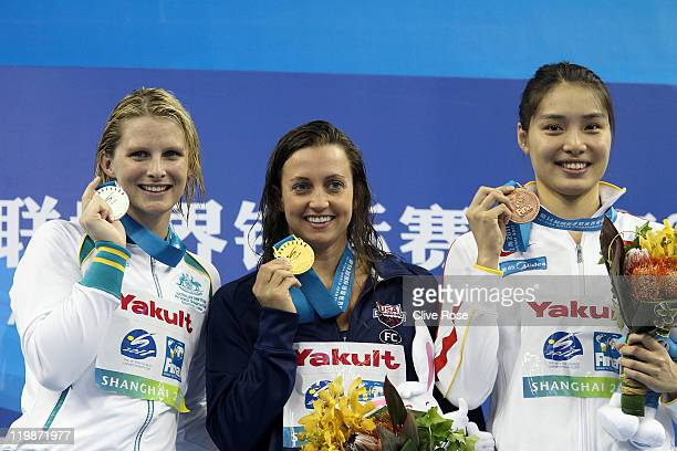 Gold medalist Rebecca Soni of the United States poses with silver medalist Leisel Jones of Australia and bronze medalist Liping Ji of China after the...