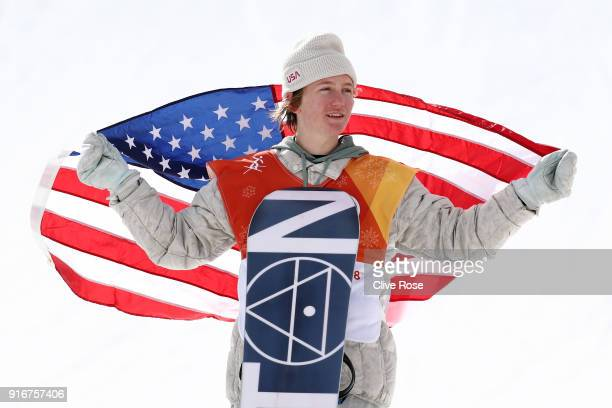 Gold medalist Redmond Gerard of the United States poses during the victory ceremony for the Snowboard Men's Slopestyle Final on day two of the...