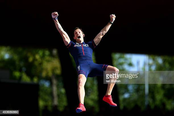Gold medalist Renaud Lavillenie of France celebrates a jump during the competes in the Men's Pole Vault final during day five of the 22nd European...