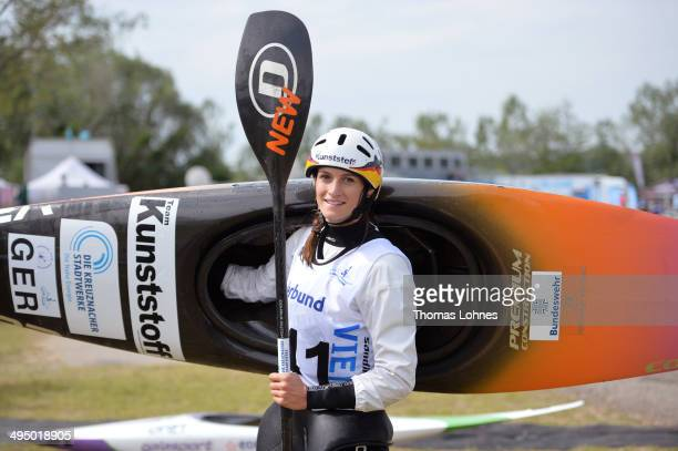 Gold medalist Ricarda Funk of Germany poses after winning the Kayak Women during the European Canoe Slalom Championships on June 1 2014 in Vienna...