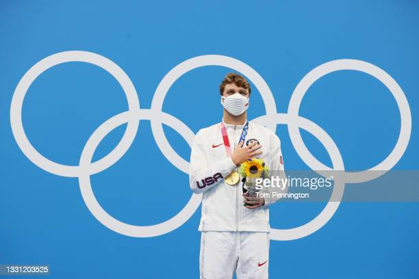Gold medalist Robert Finke of Team United States poses with the gold medal for the Men's 800m Freestyle Final on day six of the Tokyo 2020 Olympic...