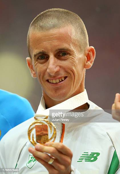 Gold medalist Robert Heffernan of Ireland on the podium during the medal ceremony for the Men's 50km race walk during Day Six of the 14th IAAF World...