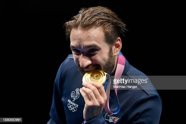 Gold medalist Romain Cannone of Team France poses on the podium during the medal ceremony for the Men's Épée Individual Fencing Gold Medal Bout on...