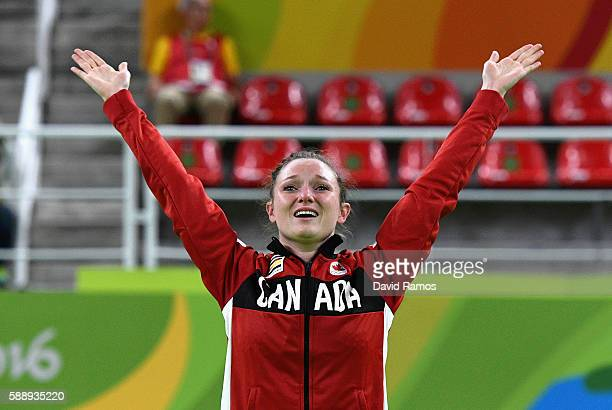 Gold medalist Rosannagh Maclennan of Canada reacts after competing in the Trampoline Gymnastics Women's Final on Day 7 of the Rio 2016 Olympic Games...