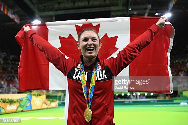 Gold medalist Rosannagh Maclennan of Canada reacts after winning the Trampoline Gymnastics Women's Final on Day 7 of the Rio 2016 Olympic Games at...