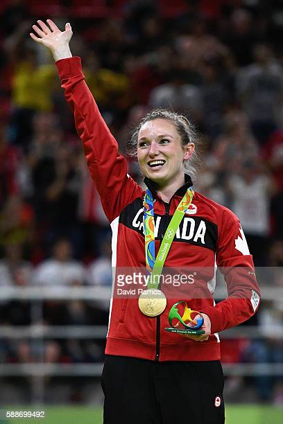 Gold medalist Rosannagh Maclennan of Canada reacts during the medal ceremony for the Trampoline Gymnastics Women's Final on Day 7 of the Rio 2016...