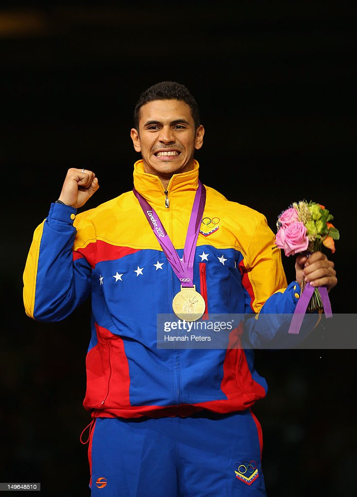 Gold medalist Ruben Limardo Gascon of Venezuela poses on the podium during the medal ceremony for the Men's Epee Individual Fencing on Day 5 of the London 2012 Olympic Games at ExCeL on August 1, 2012 in London, England.