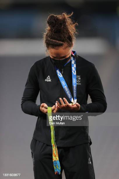 Gold medalist Ruby Tui of Team New Zealand celebrates with her gold medal and also her gold medal from the RIO 2016 Olympic Games during the Women's...