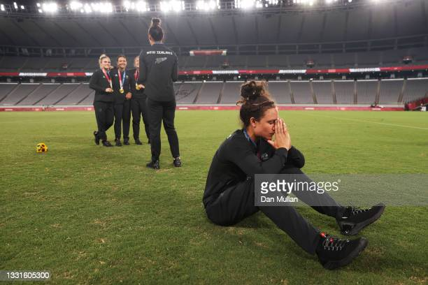 Gold medalist Ruby Tui of Team New Zealand celebrates with her gold medal after the Women's Rugby Sevens Medal Ceremony on day eight of the Tokyo...