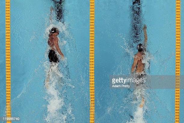 Gold medalist Ryan Lochte of the United States competes with team mate and silver medalist Michael Phelps in the Men's 200m Individual Medley Final...