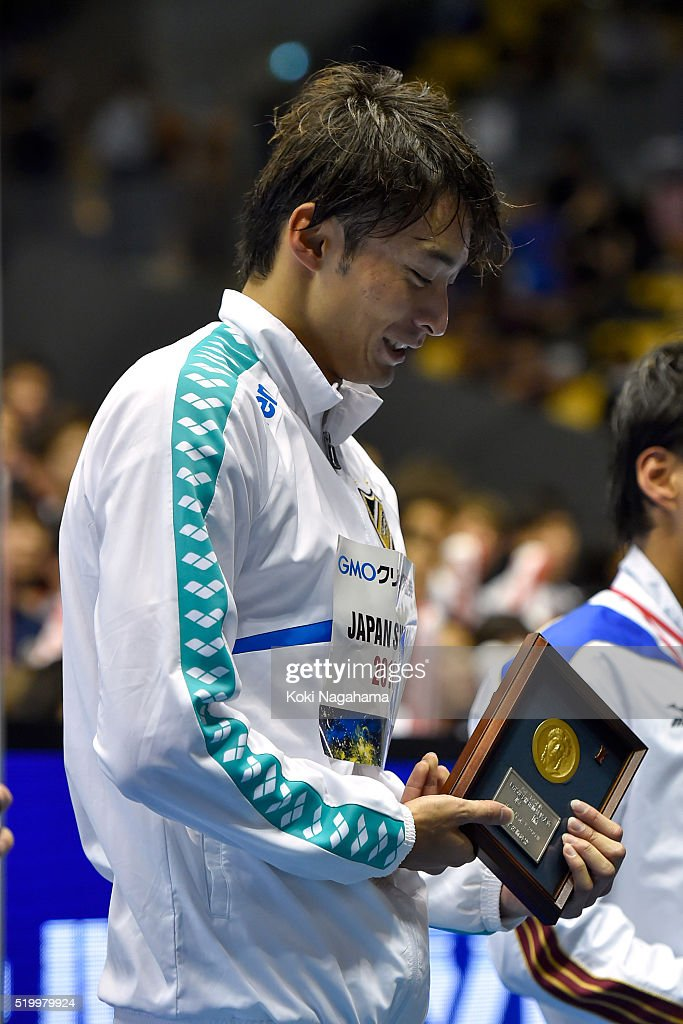 Gold medalist Ryosuke Irie looks on after the Men's 200m Backstroke final during the Japan Swim 2016 at Tokyo Tatsumi International Swimming Pool on April 9, 2016 in Tokyo, Japan.