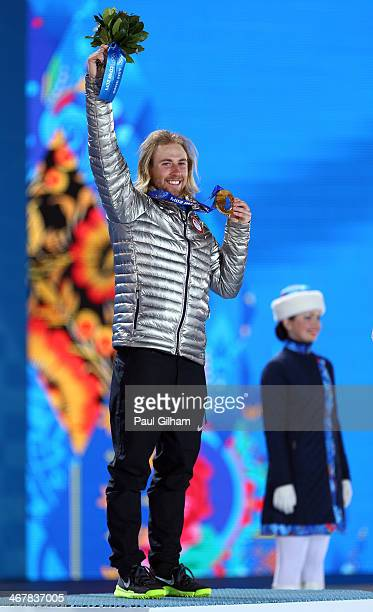 Gold medalist Sage Kotsenburg of the United States celebrates during the medal ceremony for the Snowboard Men's Slopestyle during day 1 of the Sochi...