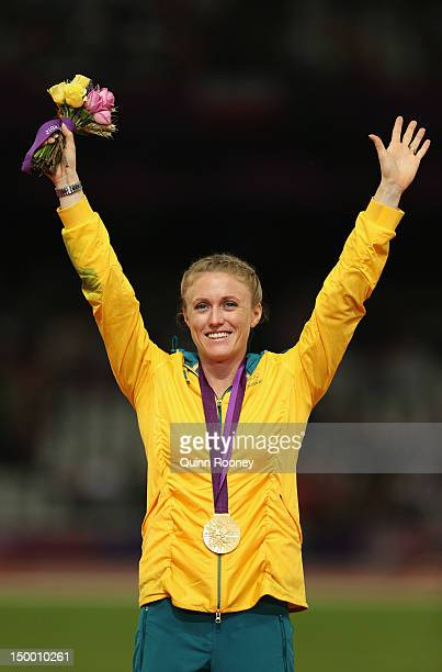 Gold medalist Sally Pearson of Australia poses on the podium during the medal ceremony for the Women's 100m Hurdles on Day 12 of the London 2012...