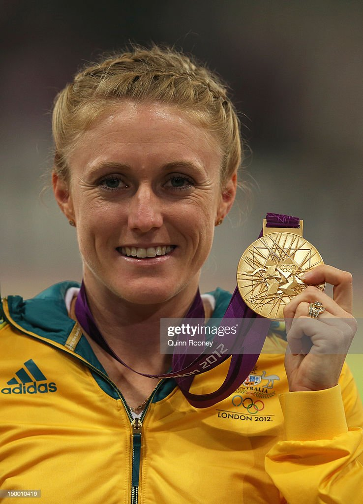 Gold medalist Sally Pearson of Australia poses on the podium during the medal ceremony for the Women's 100m Hurdles on Day 12 of the London 2012 Olympic Games at Olympic Stadium on August 8, 2012 in London, England.