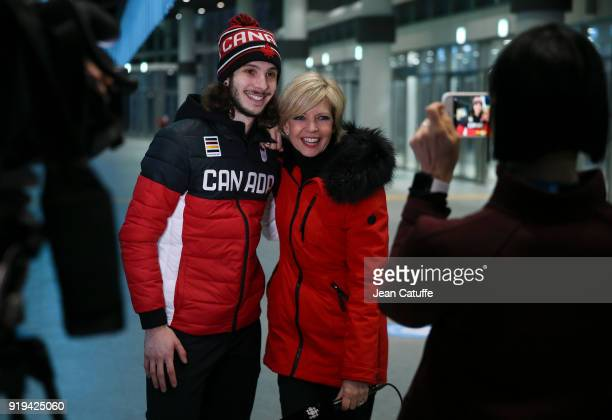 Gold medalist Samuel Girard of Canada is interviewed by canadian tv following the Short Track Speed Skating Men 1000m on day eight of the PyeongChang...